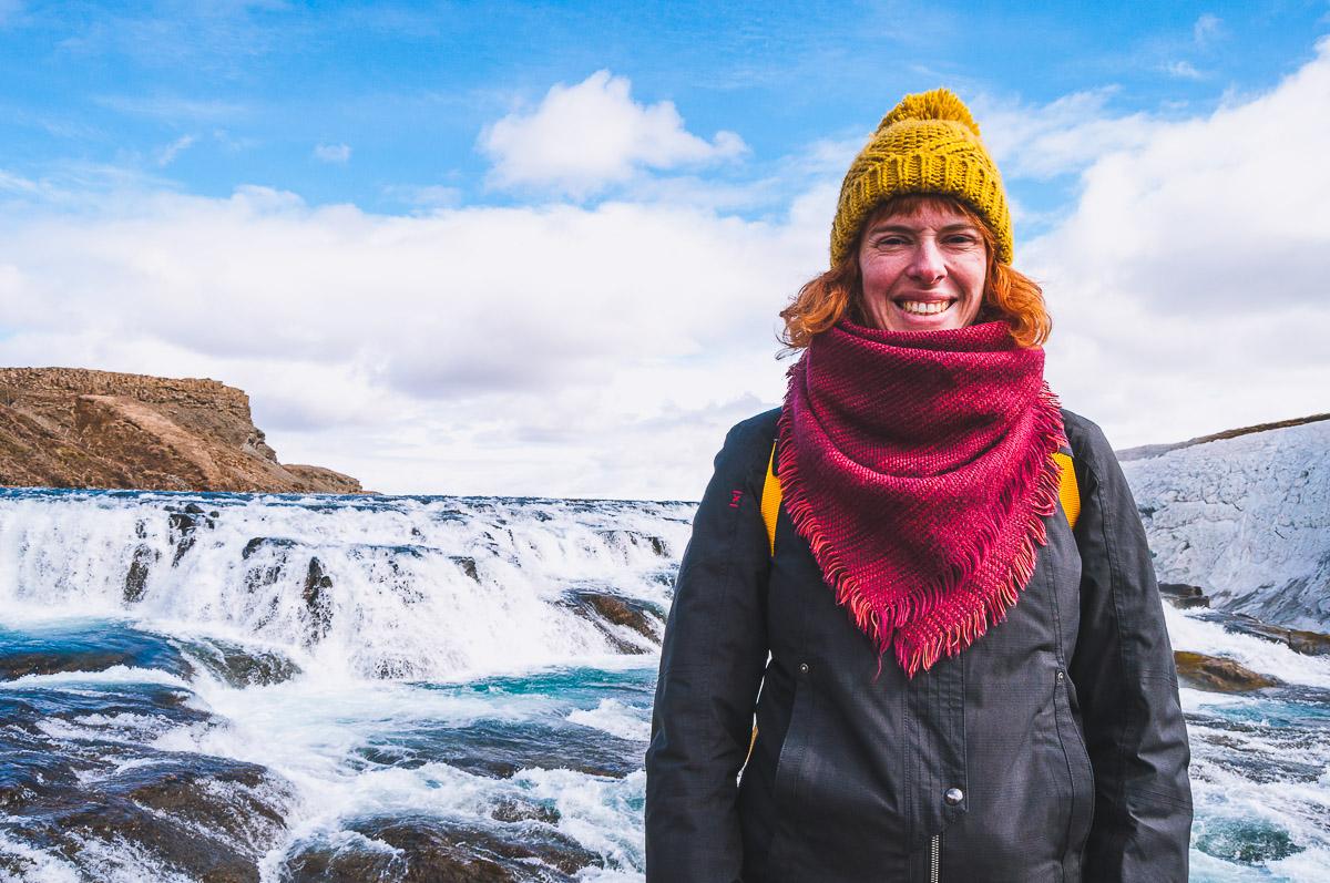 Sanne bij de Gullfoss waterval